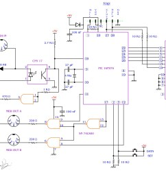 midi splitter with a pic16f876 davide bucci circuit schematic diagram [ 2232 x 1665 Pixel ]