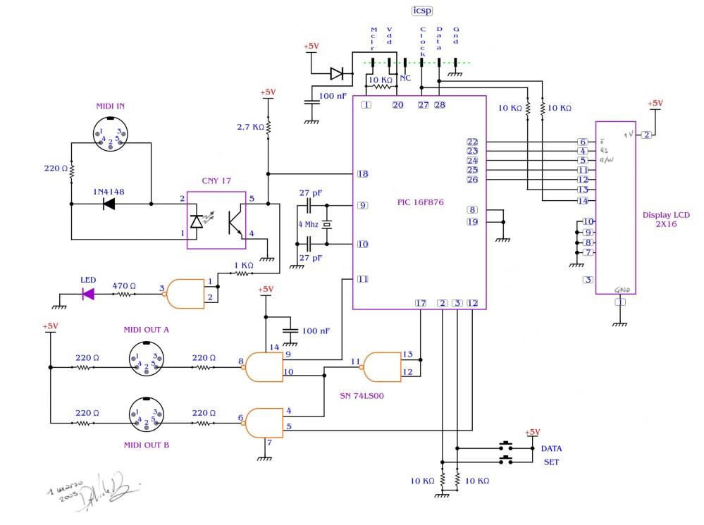 medium resolution of midi splitter with a pic16f876 davide bucci circuit schematic diagram