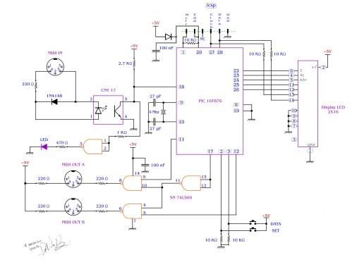 small resolution of midi splitter with a pic16f876 davide bucci circuit schematic diagram