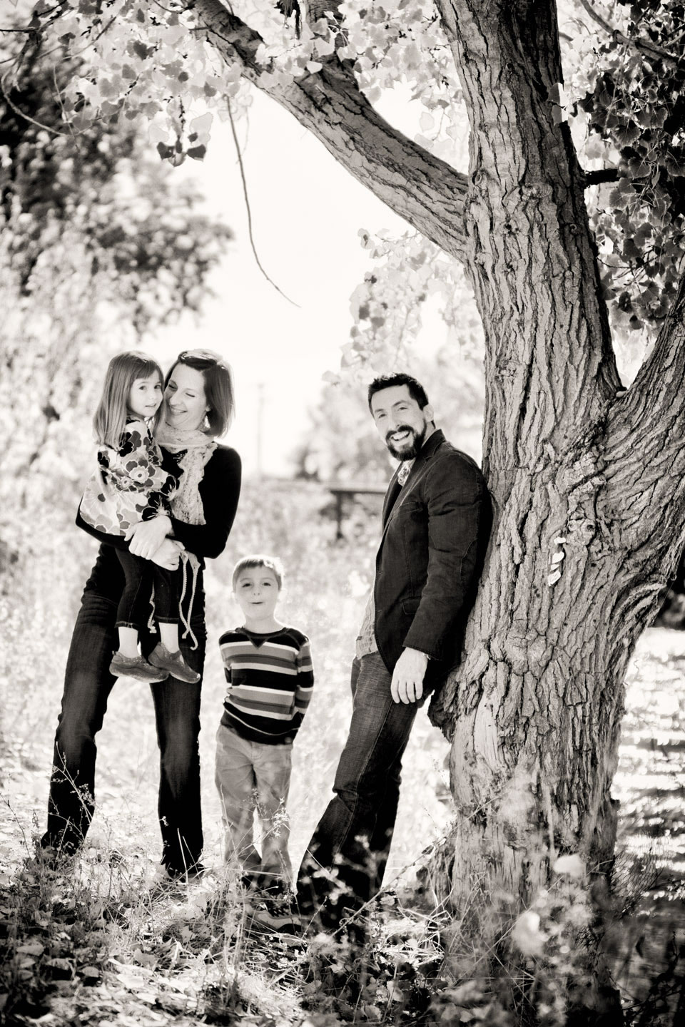 Black and white family photograph by Jordan River