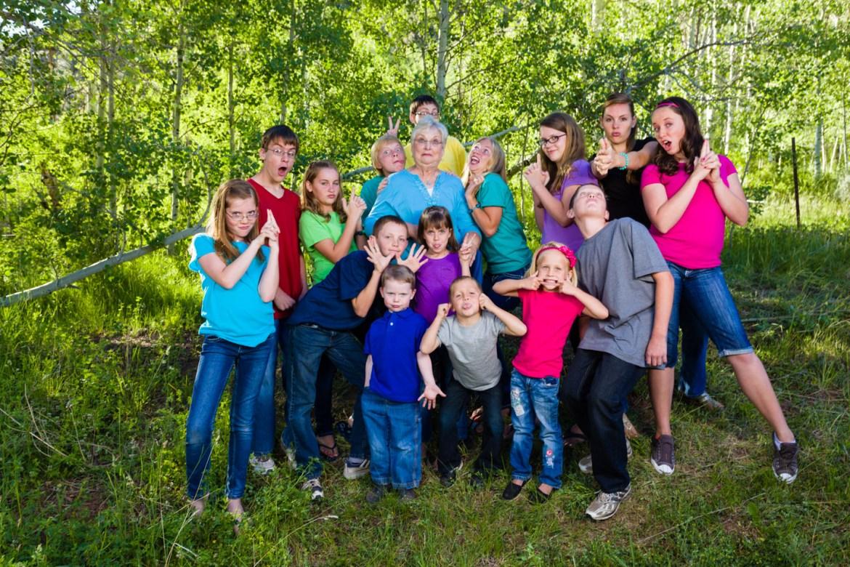 Fun family portrait of the grandkids
