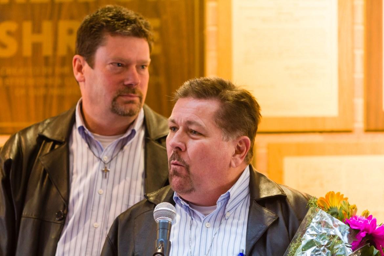 Joe and Russ Baker-Gorringe speak to the protest