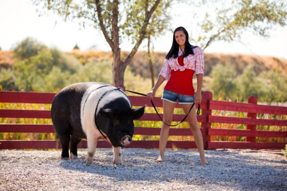 A farmer and her pig