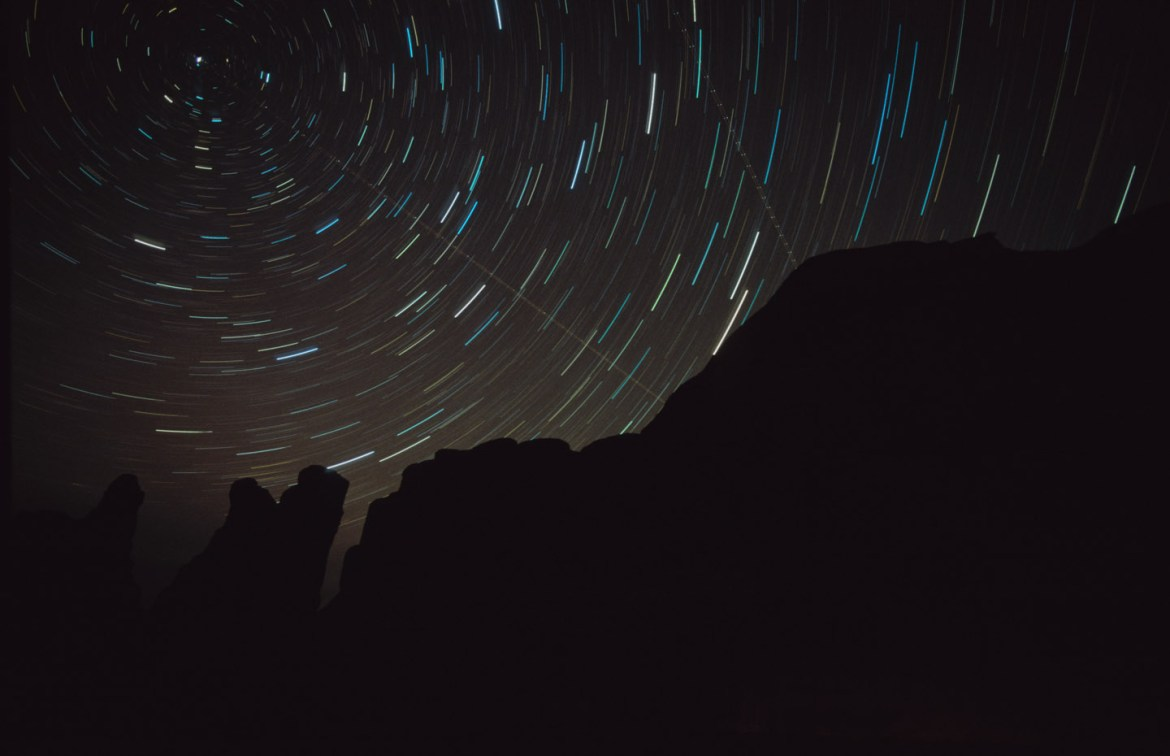 Star trails with the north star visible