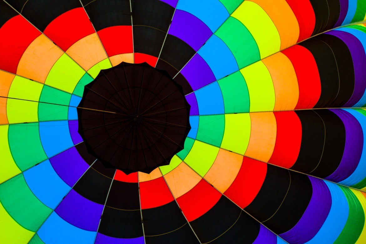Extremely colorful inside a hot air balloon