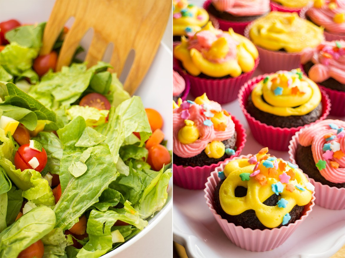 Salad and Cupcakes