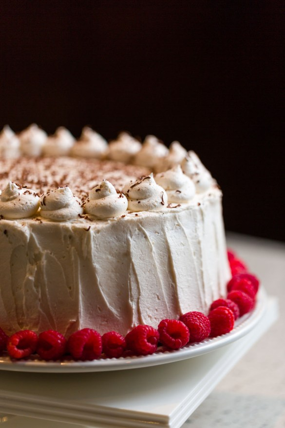 Cake surrounded by raspberries