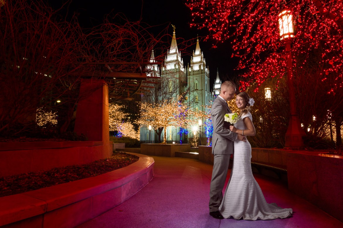 Wedding couple and the salt lake temple