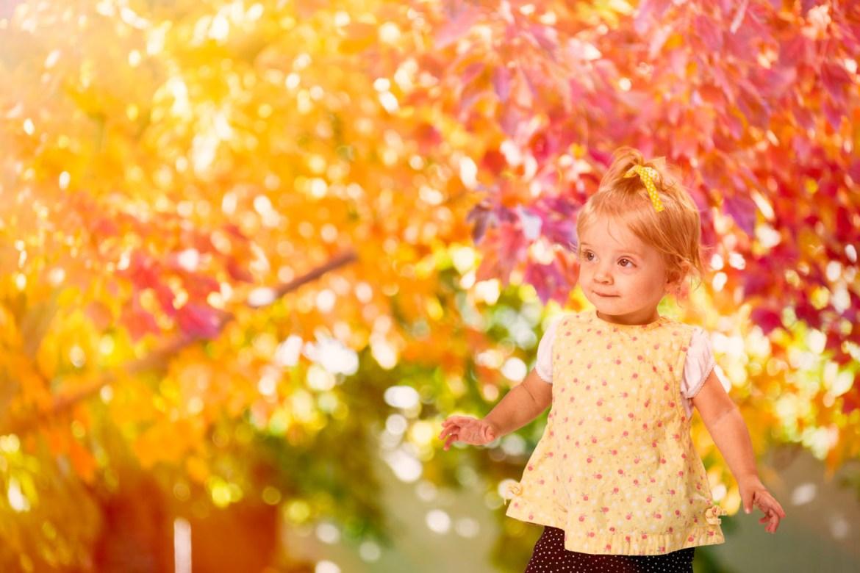little girl enjoys the autumn leaves
