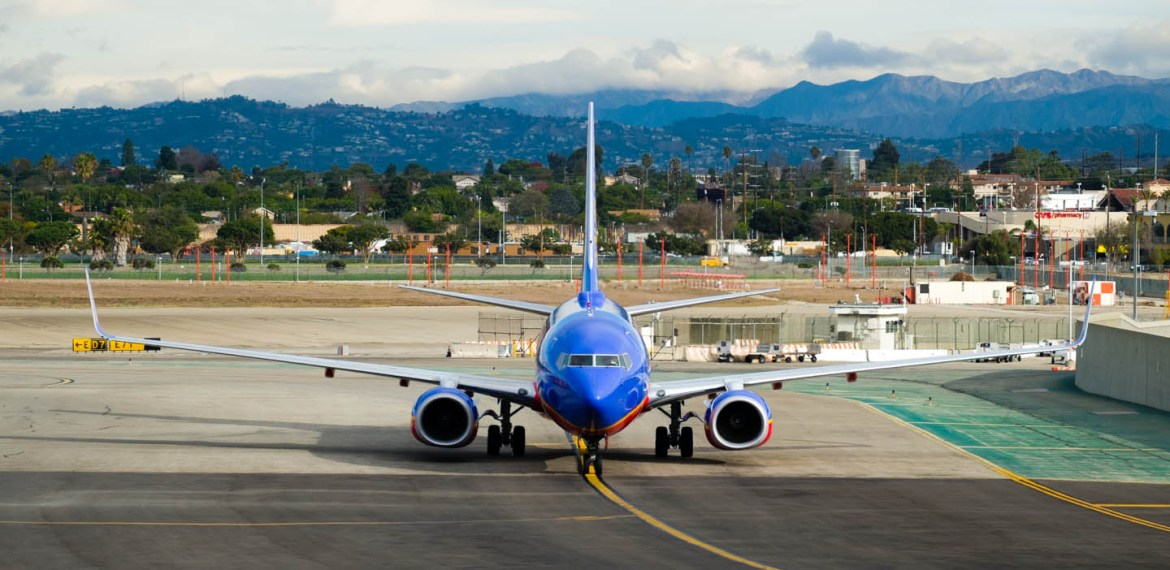 Southwest Plane taxis at LAX in Los Angeles