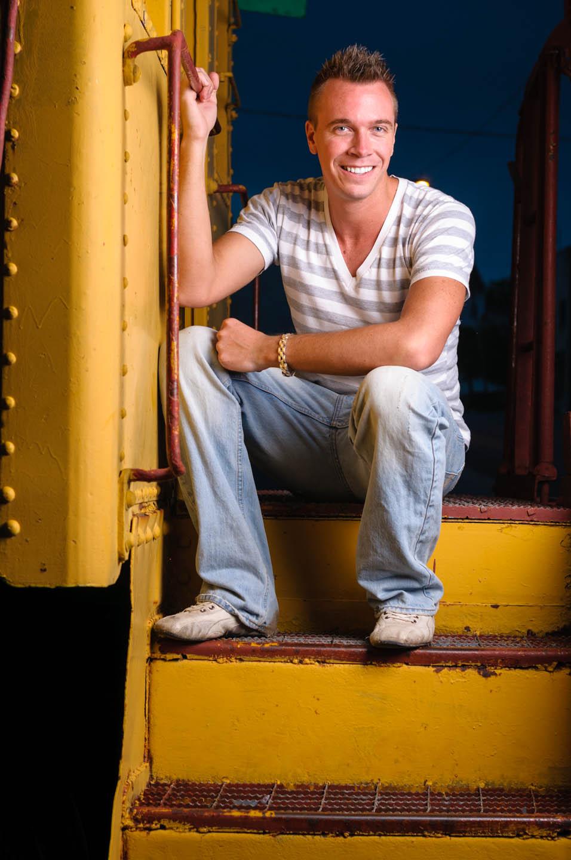 Brian sits on a train in Eureka, Utah