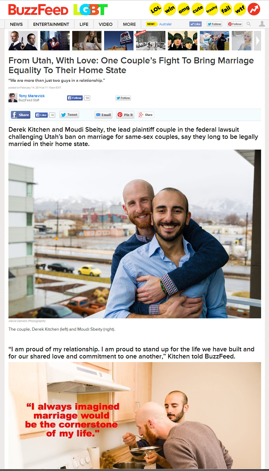 Derek Kitchen & Moudi Sbeity on Buzzfeed with my photography