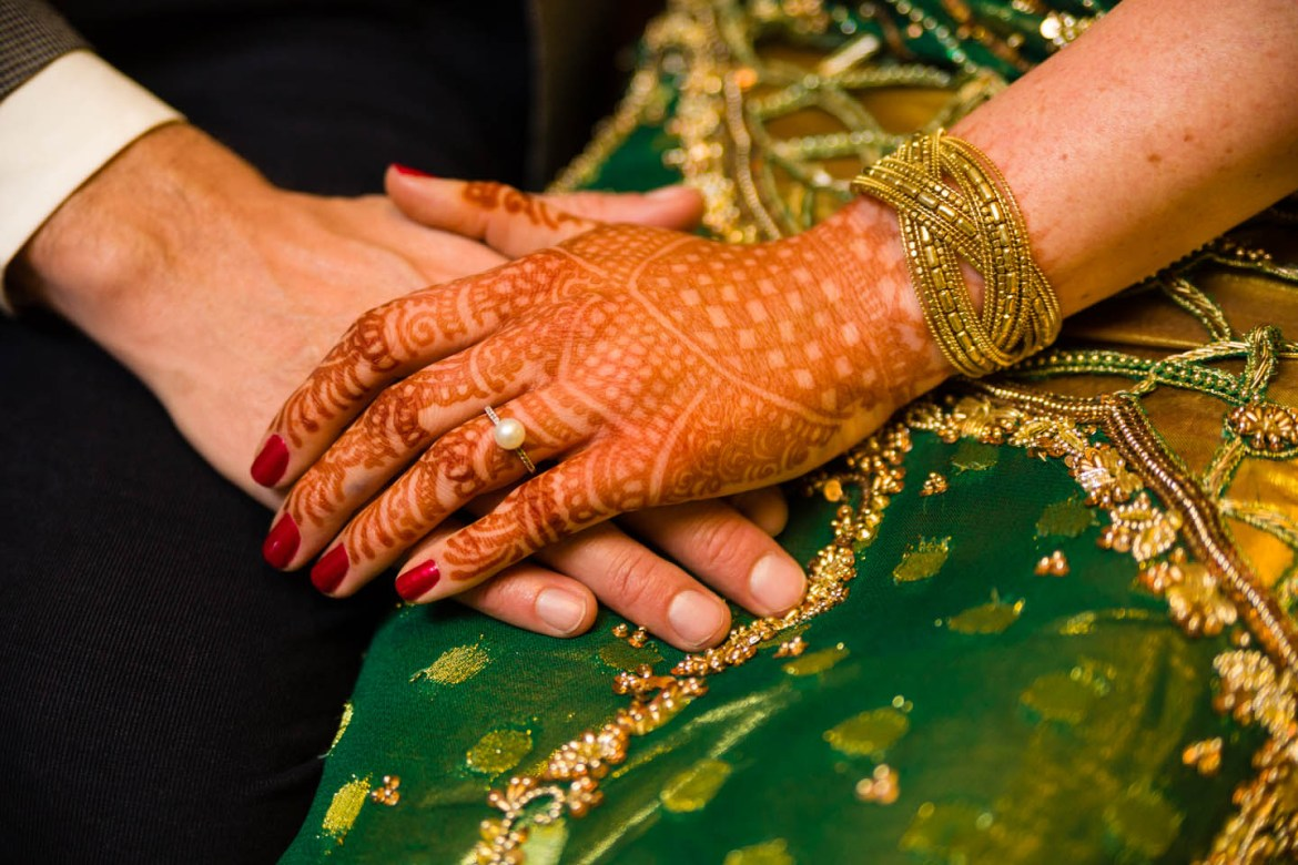 Wedding ring with henna tattoos