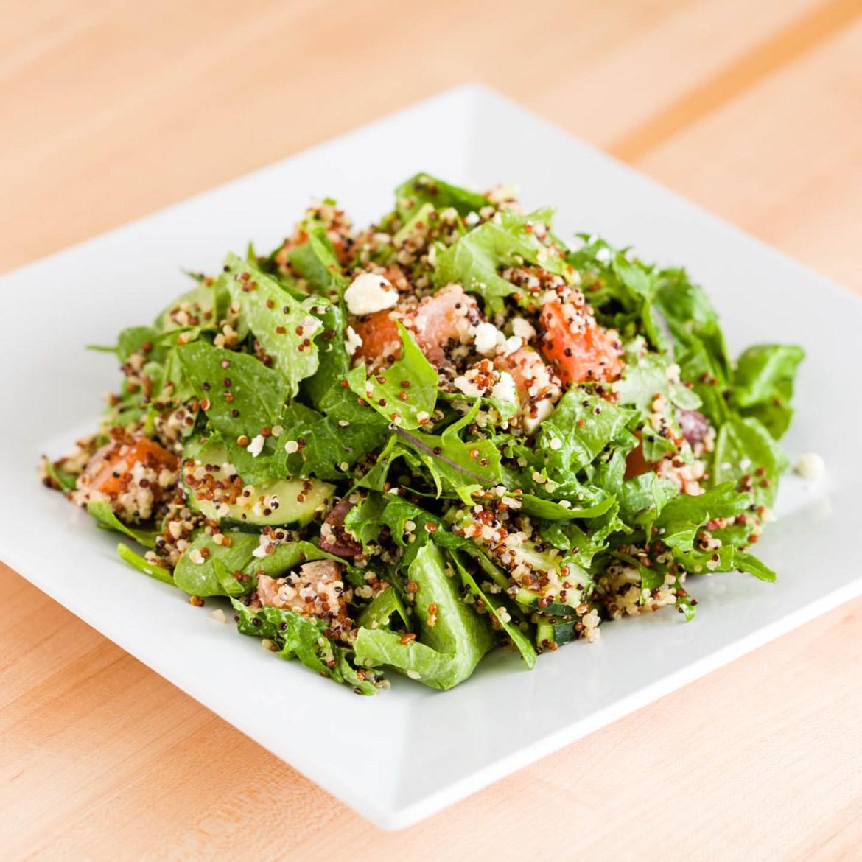 Superfood salad with quinoa, kale, feta