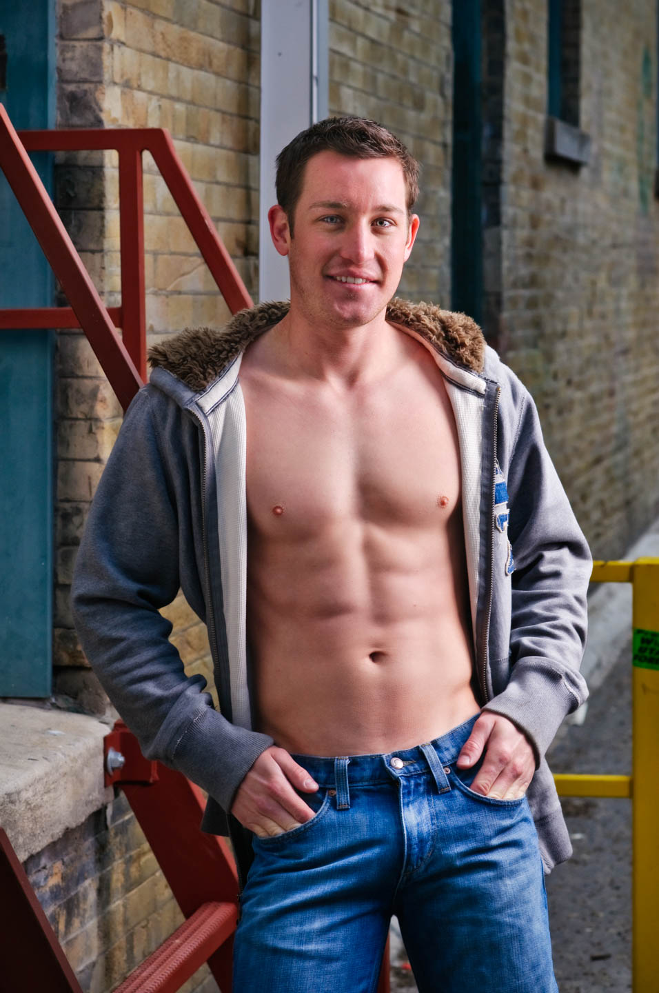 Shirtless with a hoodie