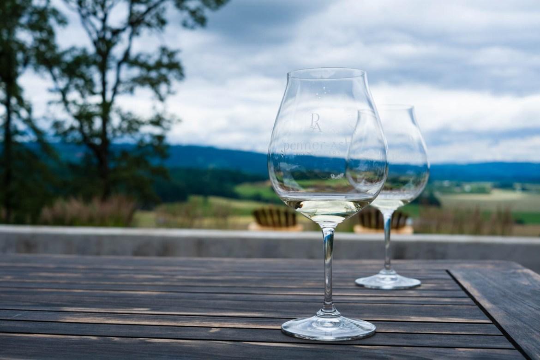Taste testing wine at Penner Ash