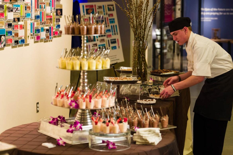 Preparing the dessert buffet