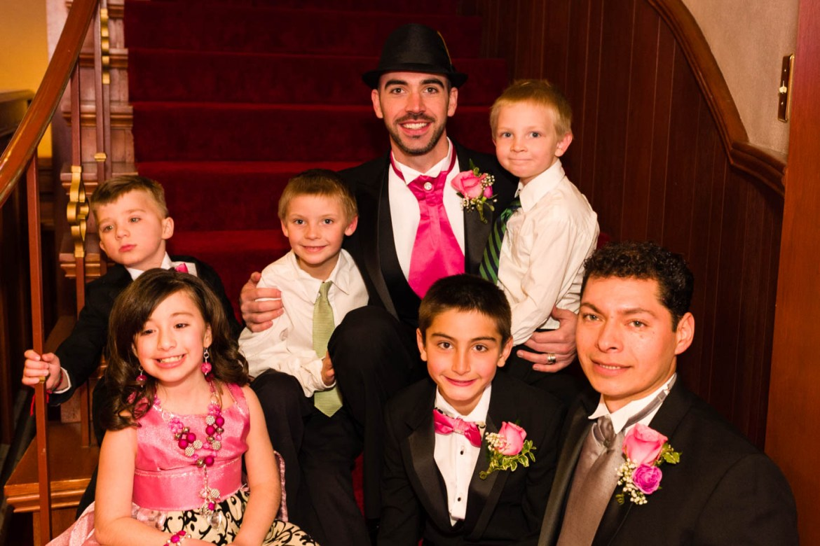 Family portrait with some extras before the wedding ceremony