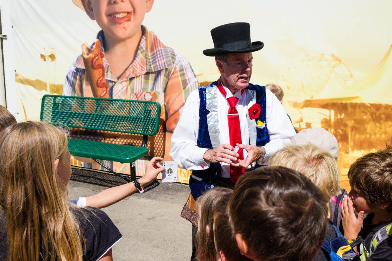 Magician performs card tricks at the Utah State Fair
