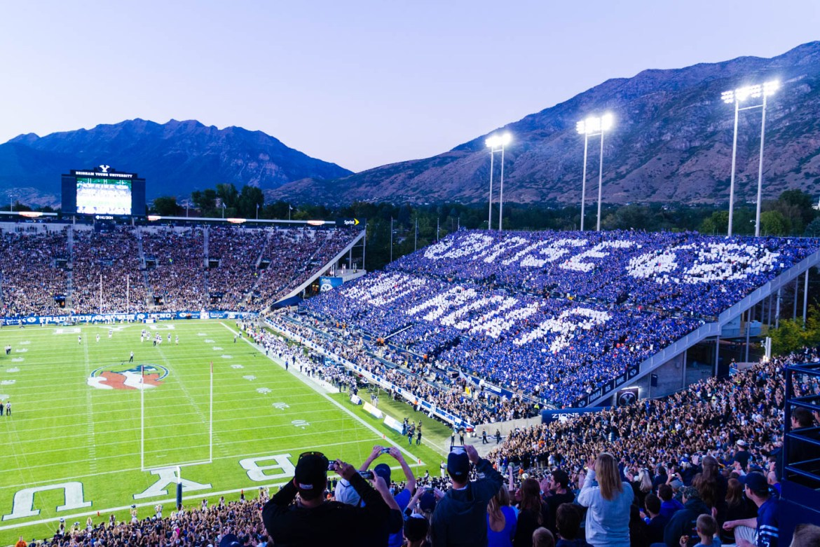 BYU fans have some display of support from the stands