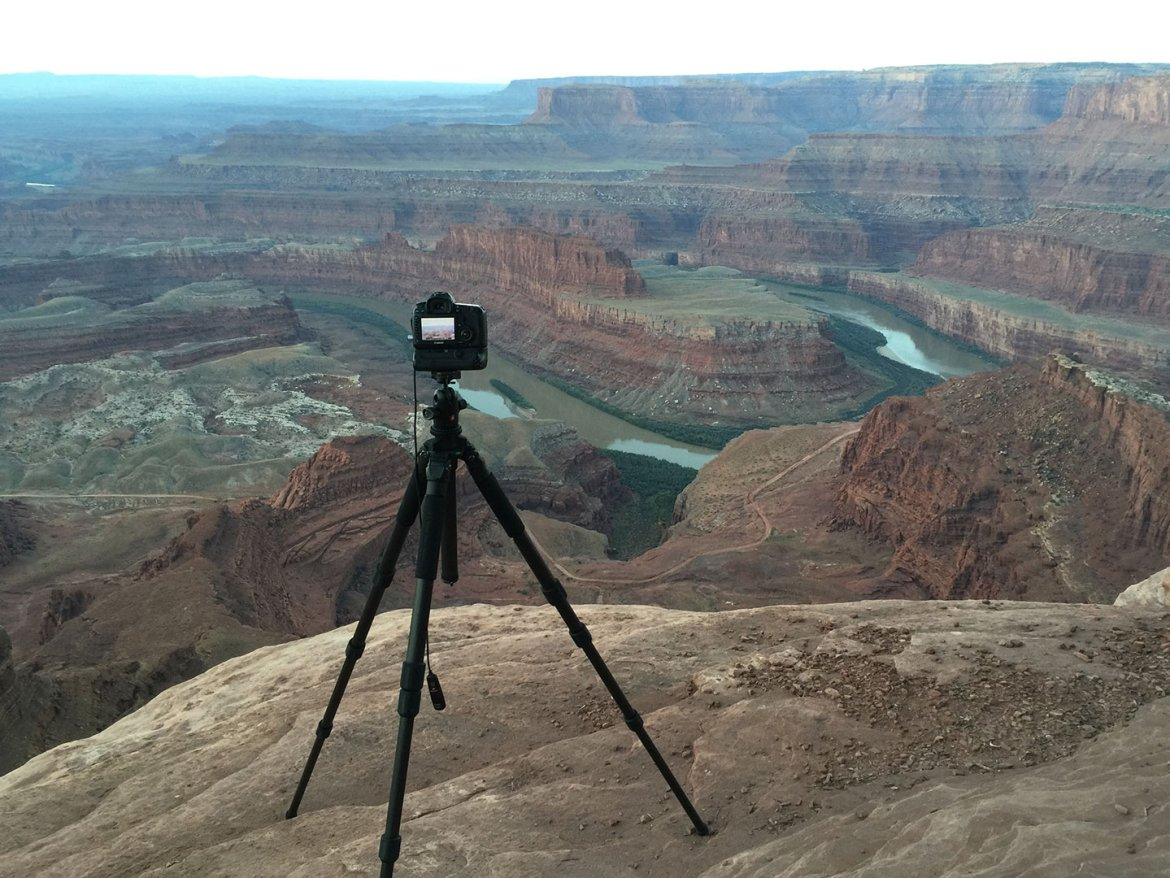 tripod overlooking Dead Horse Point