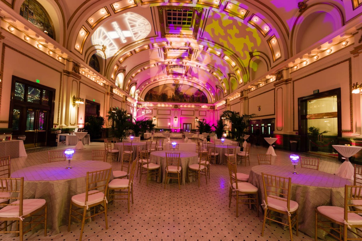 The Great Gatsby themed party decor at the Grand Hall at the Gateway