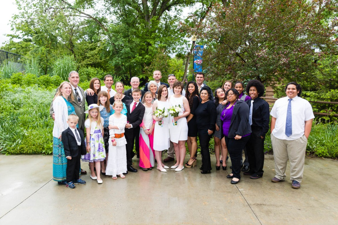 Family photos after the wedding were out in the rain