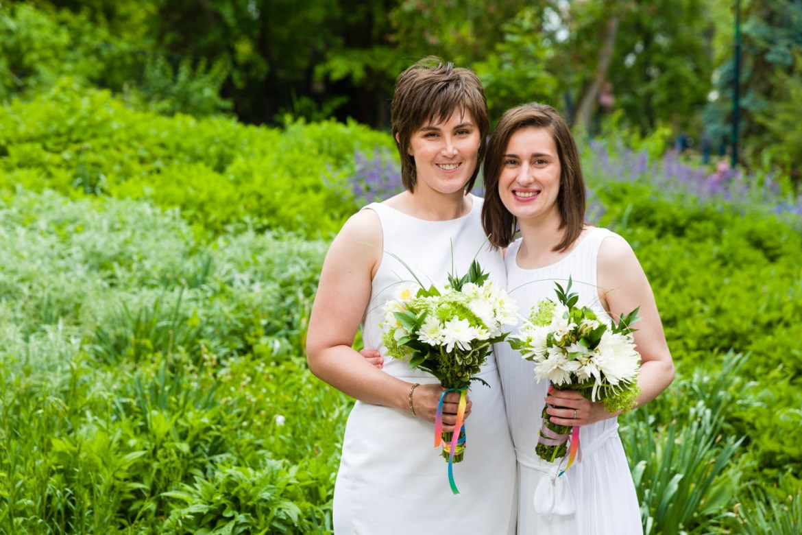 The brides after the wedding ceremony. Despite the rain we were able to create awesome wedding photos.