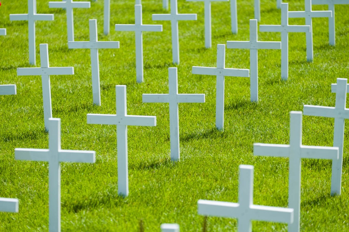 White crosses memorialize service men and women who served their country