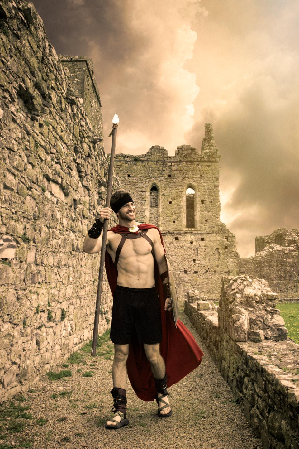 A warrior from 300's Sparta added in Photoshop to an abandoned castle