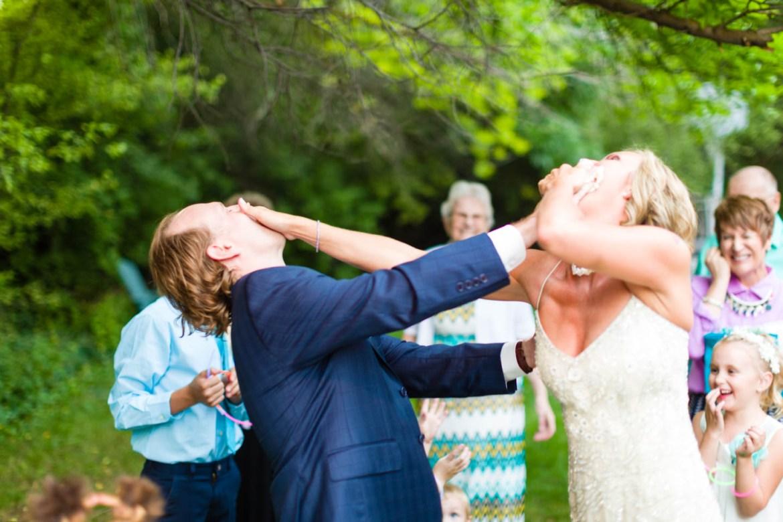 Bride and groom smash cake