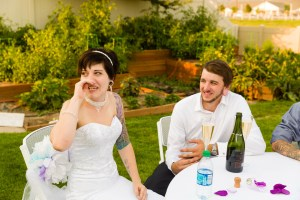 Bride cries at the wedding toast