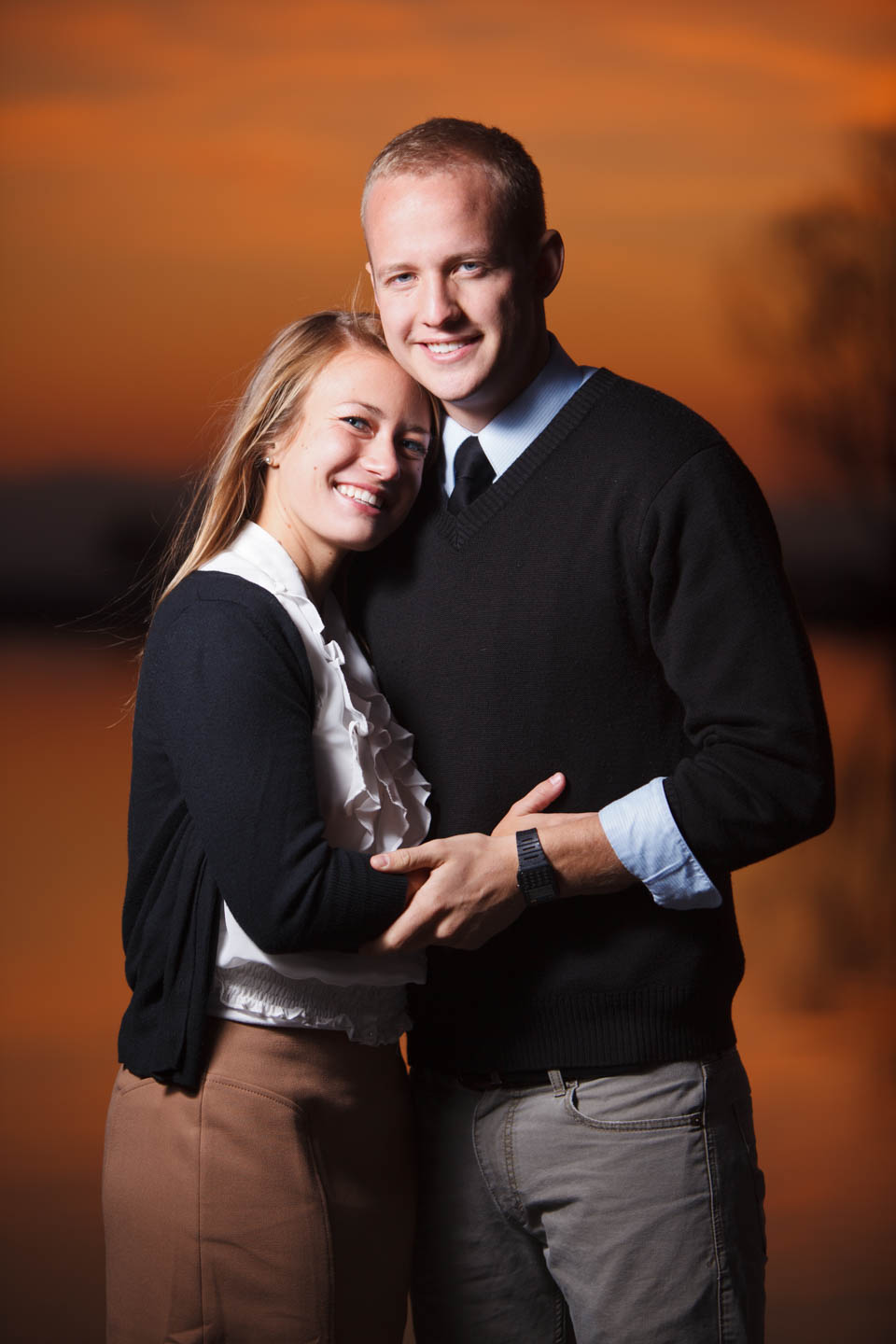 Creative lighting for the engagement photos