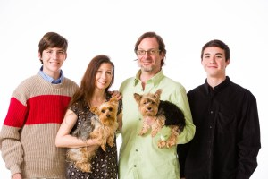 Family portraits with the family dogs with white background
