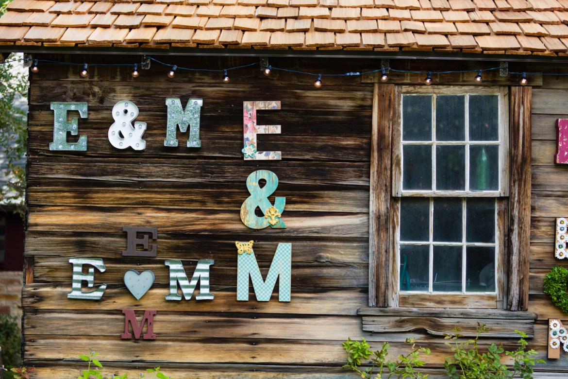 Initials of the bride and groom decorate the yard