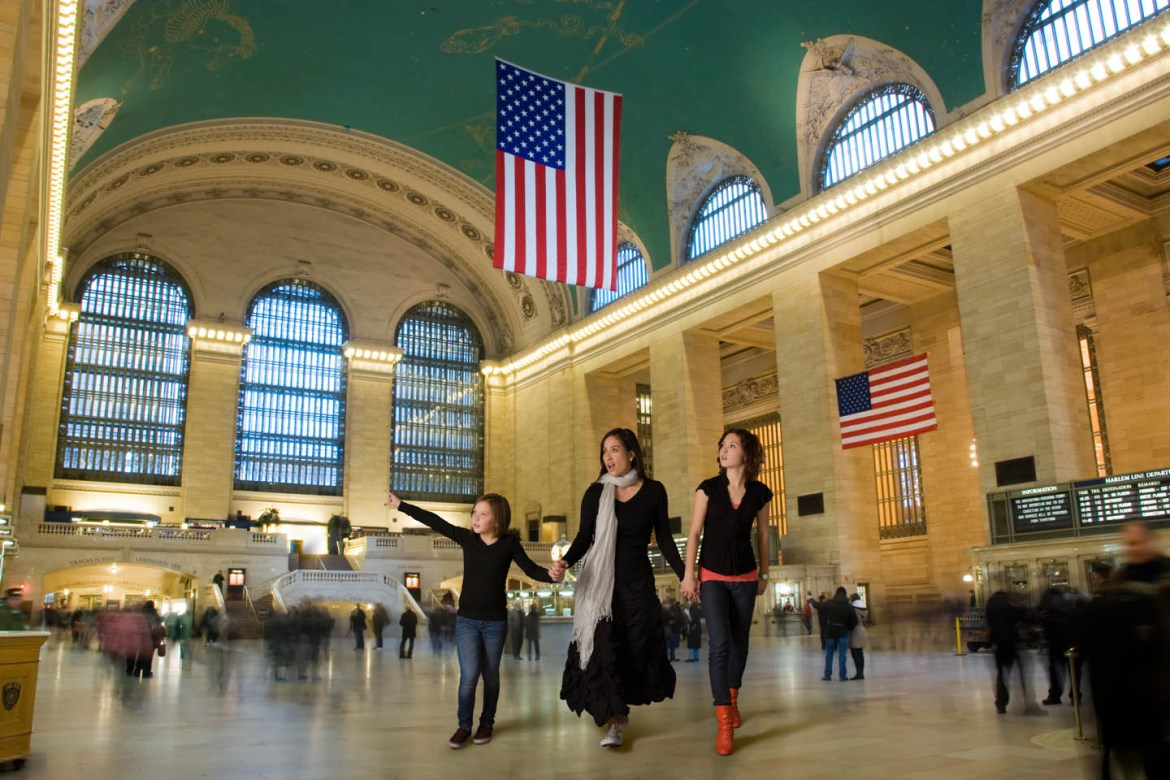 Photoshopped them into Grand Central Station
