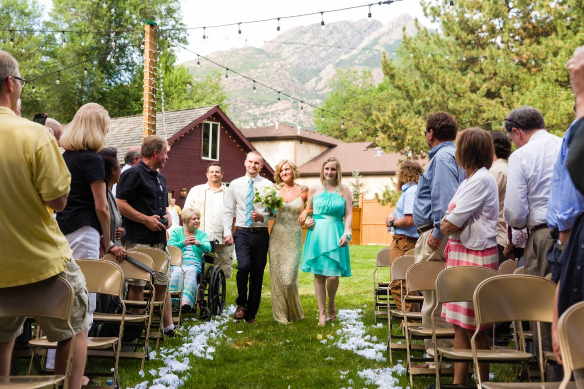 Bride walks the aisle with her children