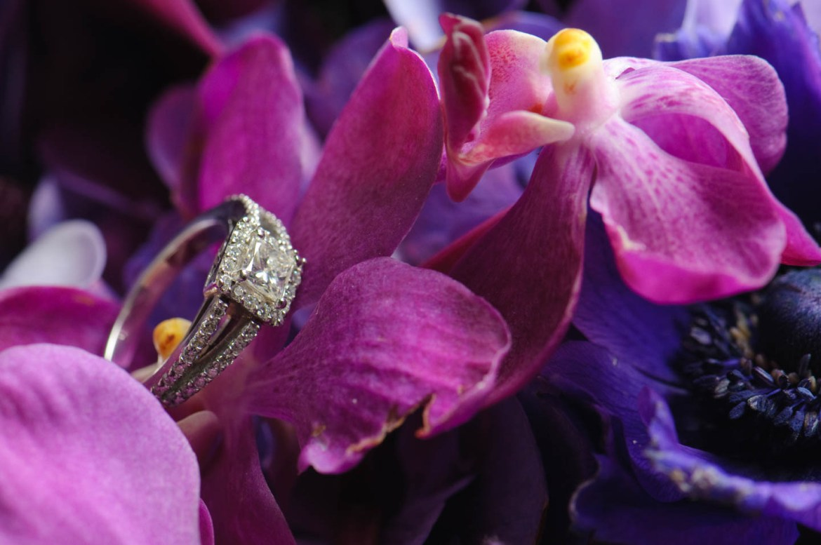 Wedding rings on the floral bouquet
