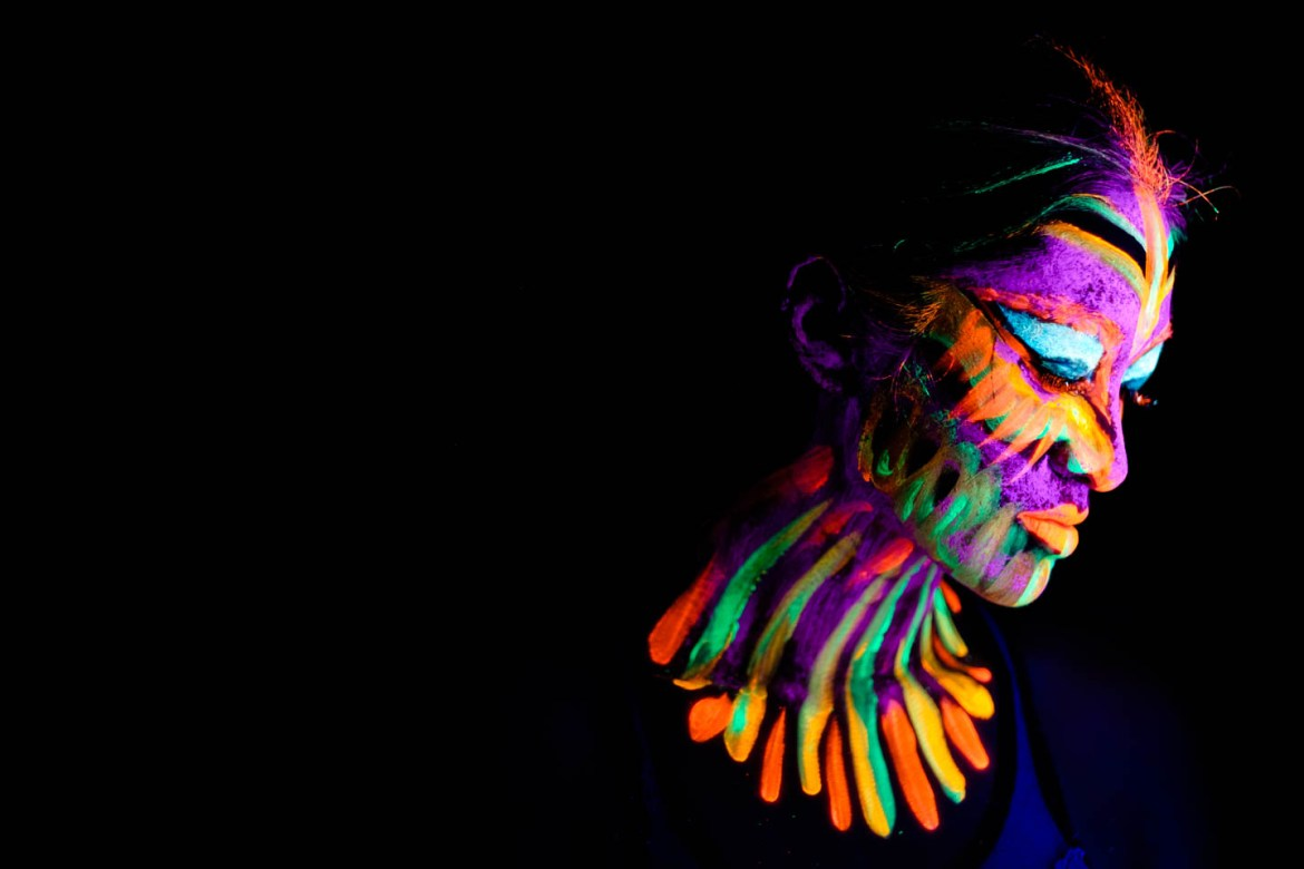Colorful creations with blacklight paint