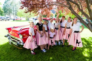 The granddaughters in 50s poodle skirts