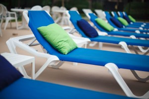 Decorated deck chairs