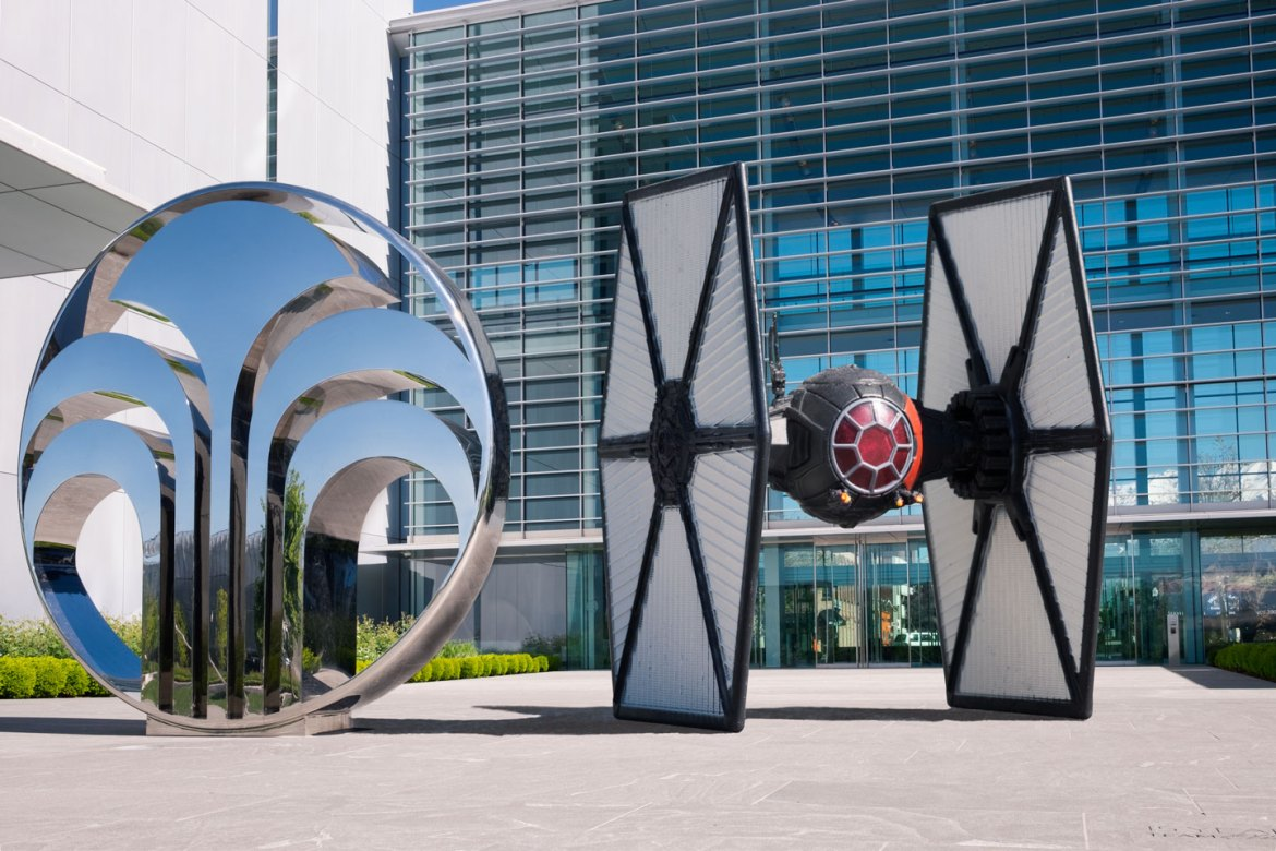 A Tie Fighter parked outside the day job