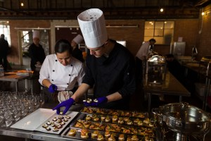 Chefs preparing the appetizers and hors d'oeuvres