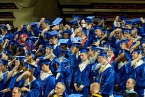The graduates switch the tassle