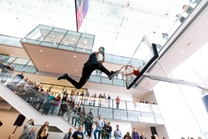 Wide angle gives a unique view of a dunk
