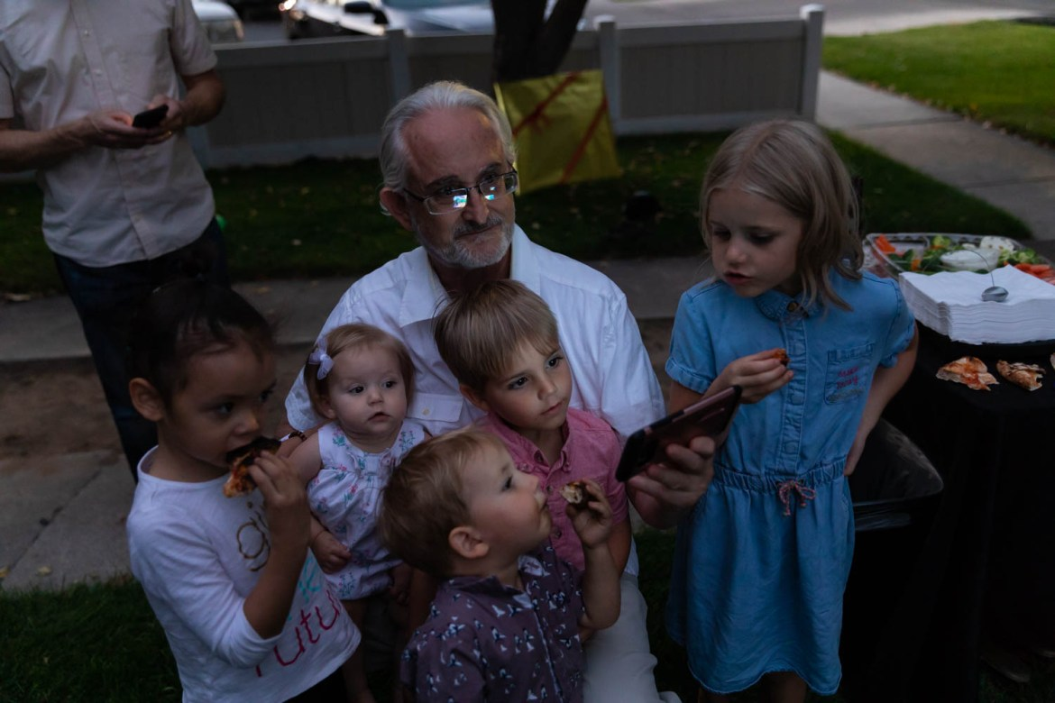 Watching an iPhone with the grandkids