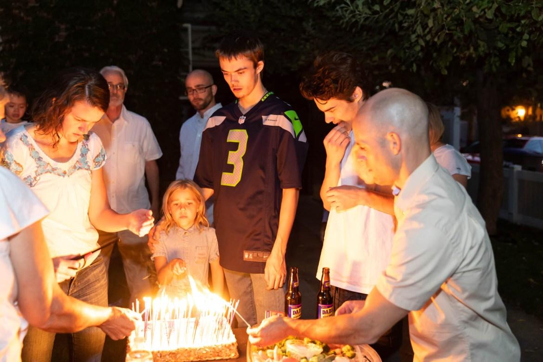 Lighting the birthday cake