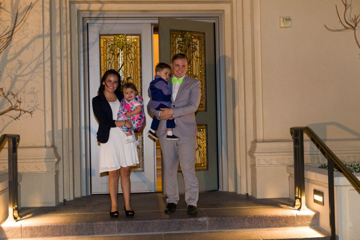 The Peck family leave the temple after being sealed