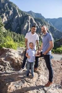 Mountains frame a family photo