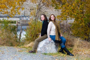 Mom and dad sitting on a rock